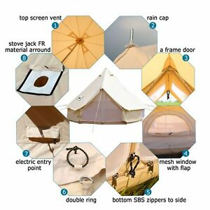 5M-Canvas-Bell-Tent-Camping-Yurt-Tent-Teepee-Tipi-Waterproof-Cotton-w-Stove-Jack