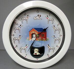 New Dalmatians Round Wall Clock Swinging Pendulum