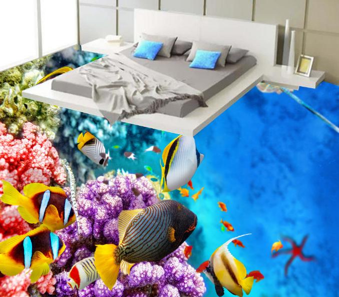 3D Wellen Fisch 427 Fototapeten Wandbild Fototapete Tapete Familie DE Lemon