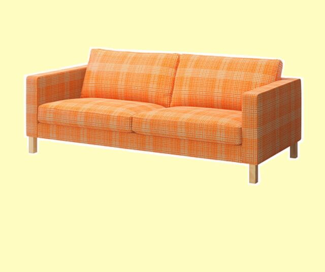 IKEA Karlstad 3 Seat Husie ORANGE Sofa(Ottoman+$87)Cover Plaid Cotton Check  NEW