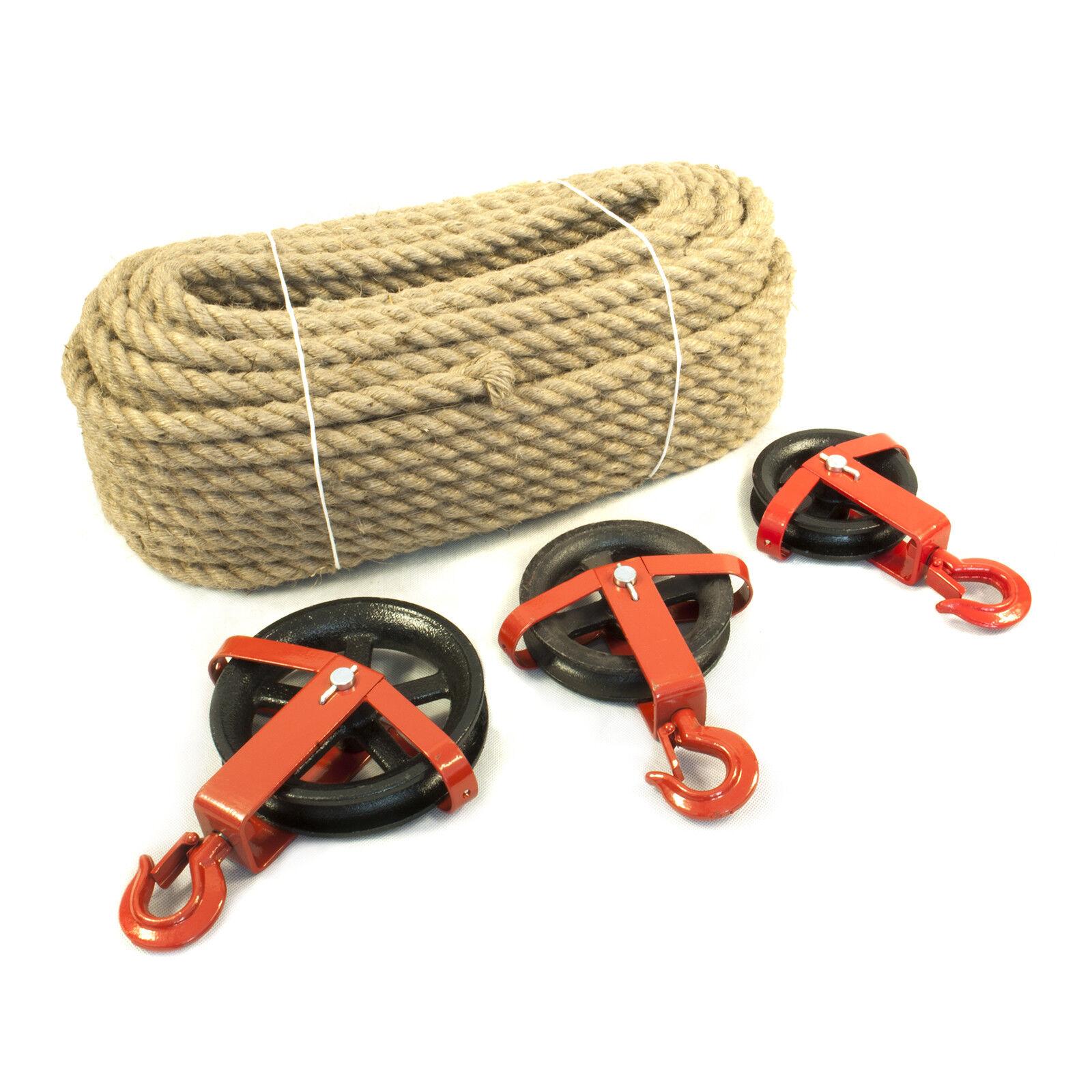 SET JUTESEIL+ UMLENKROLLE mit Haken Seilwinde Seilzug Seilrolle Windenrolle Seil