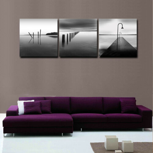 Canvas Print Oil Painting Picture Black White Landscape Lake Wall Art 3pcs
