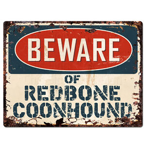 PPDG0178-Beware-of-REDBONE-COONHOUND-Plate-Rustic-TIN-Chic-Decor-Sign