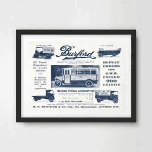 VINTAGE BURFORD BUSES ART PRINT POSTER Transport Wall Picture Advertisement Old