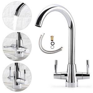 Modern-Kitchen-Sink-Mixer-Taps-Swivel-Spout-Dual-Lever-Tap-Mono-Chrome-Faucet