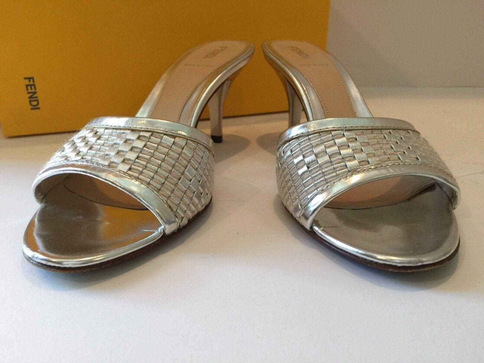 460 FENDI Argent & ECRU en CUIR Sandale Chaussures Mule 3  brevet Talon Taille 6 1 2