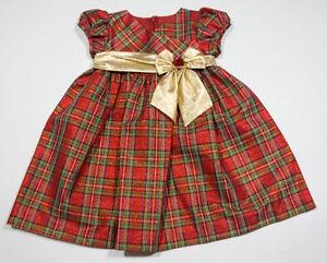 Bonnie Jean Baby Girls Dress 24m Taffeta Red Plaid Gold