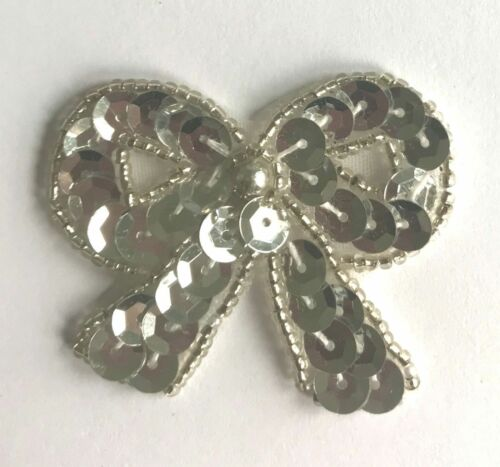 Lot of 4 Silver Small Bow Beaded Sequined Sew-On Sewing Applique Craft Patch VTG