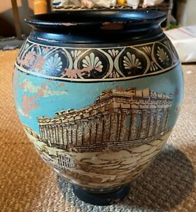Handmade-Greek-Pottery-Vase-Parthenon-Temple-Of-Athena-D-Vassilopoulos-RARE