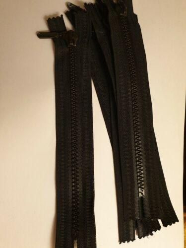 """Fermé Fin Plastique Dents Chunky Zip Noir 7/"""" 18 cm"""