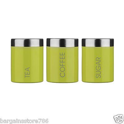 Lime Green Canisters Set of 3 Kitchen New Storage Tea Coffee Sugar Jars  Enamel