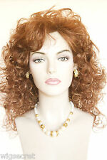 Light Auburn Red Long Medium Curly Wigs