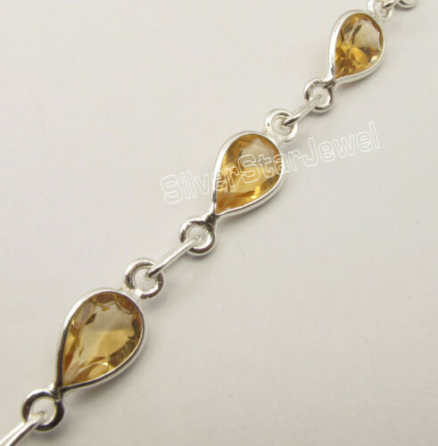 925 Silver YELLOW CITRINE Back to School Sales Bracelet 8 3//8 Inches GIFT