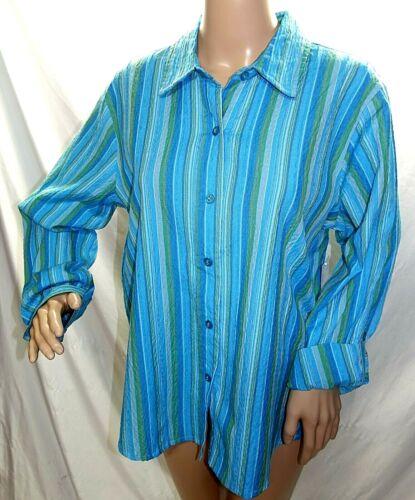 Southern Lady Women Size M L XL Teal Blue Green Striped Blouse Shirt Top Hi Lo