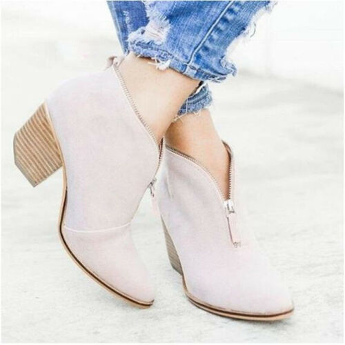 Womens Ankle Boots Ladies Point Toe Zipper Suede Leopard Casual Block Heel Shoes