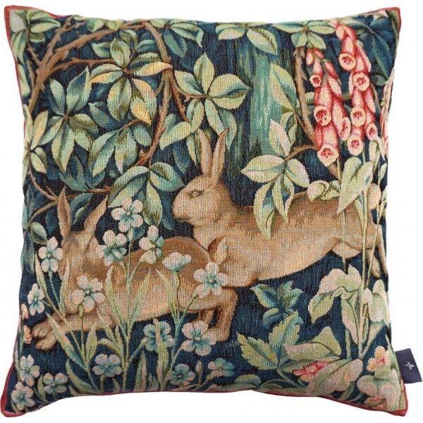 2 lièvres en forêt French Tapestry Pillow Cover, importés, 14  X 14 , WM. Morris