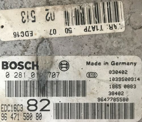 Calculateur Peugeot 206 1.4 HDI EDC16C3 82 0281010707 9647158080