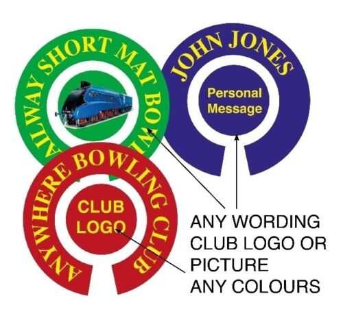 "90 SETS PERSONALISED BOWLS STICKERS 1/"" LAWN BOWLS FLATGREEN AND INDOOR BOWLS"