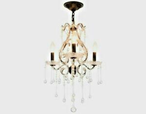 Austrian Vienna Crystal Teardrop Bead Rubbd Bronze 3 Light Chandelier Plugin Opt Ebay