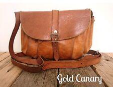 Vintage Tan Leather Small Shoulder Crossbody Bag Pouch Purse Handbag Boho Folk