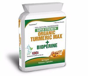 Turmeric-Curcumin-Bioperine-Pure-Organic-Black-Pepper-90-Capsules-Antioxidant
