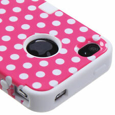 For iPhone 4 4S Rubber IMPACT TUFF HYBRID Case Skin Phone Cover Pink Dots