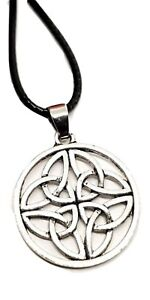 Celtic-Trinity-Knot-Pendant-Silver-Tone-Trinity-Triquetra-Leather-Lace-Necklace