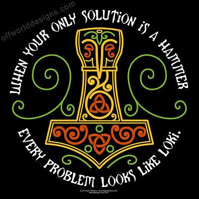 New T-Shirt Thor's Solution Hammer Mjolnir Thor Loki Viking God OffWorld Designs