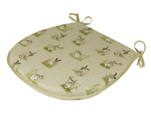 Hares D-Shaped Garden//Patio//Kitchen//Dining Tie-On seat pads *3 Sizes*