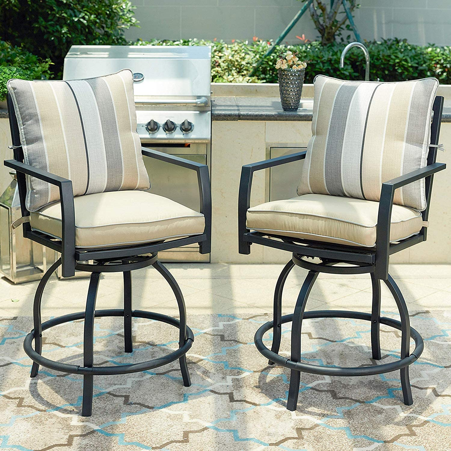 Image of: Lokatse Home Patio Bar Height Chairs Outdoor Swivel Bar Stools Chairs With Seat For Sale Online