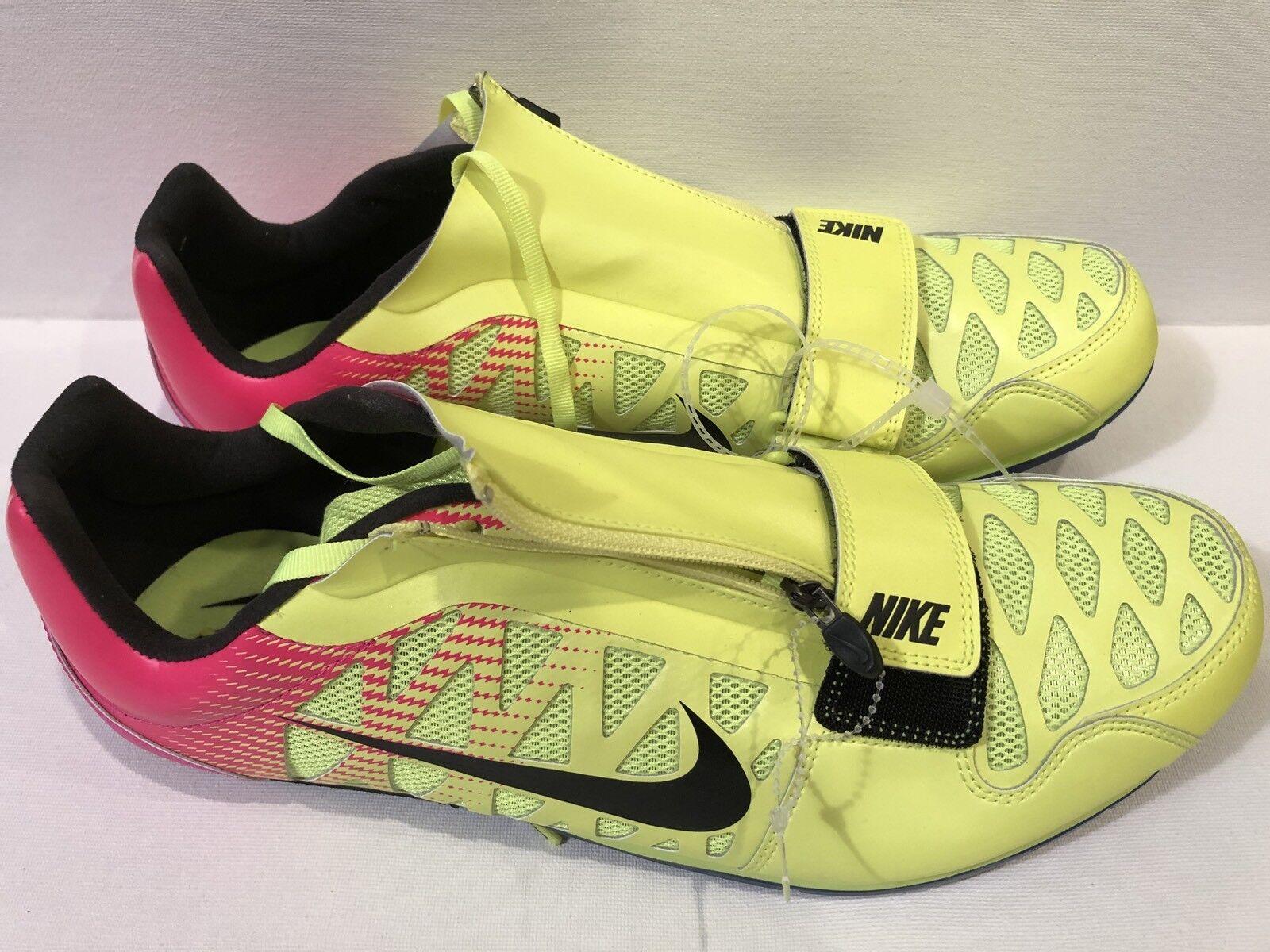 Nike Zoom LJ 4 Long Jump Track Track Track shoes Spikes Sz 12 Volt Pink Black 415339-999 4865ca