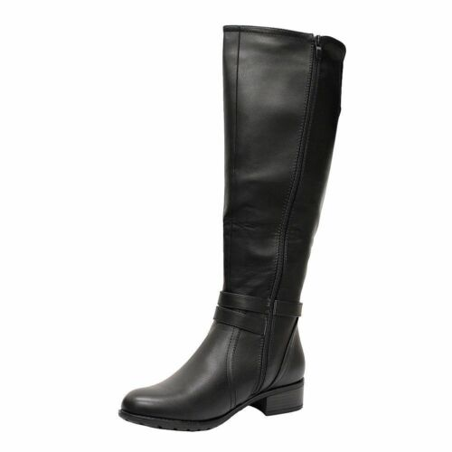 WOMENS LADIES LOW HEEL STRAP ZIP STRETCH ELASTIC KNEE HIGH RIDING BOOTS SIZE 3-8
