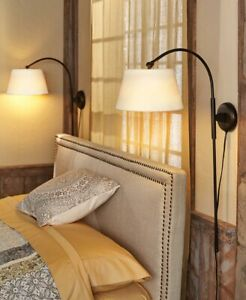 Adjustable-Touch-Wall-Lamp-Bedside-Light-Indoor-Lighting-w-Black-Metal-Base