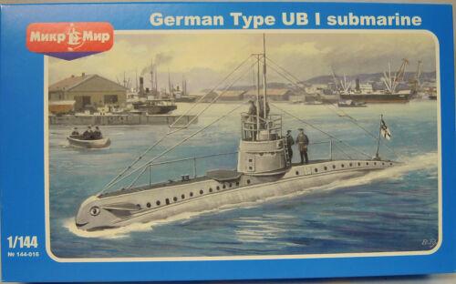 Plastik Mikro-Mir NEU ! Deutsches U-Boot Typ UB-1 Ätzteile 1:144