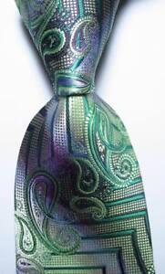 New-Classic-Striped-Paisley-Green-Purple-JACQUARD-WOVEN-Silk-Men-039-s-Tie-Necktie