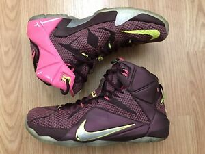 sale retailer 65dda 0b34d Image is loading Nike-Lebron-James-XII-12-Merlot-Double-Helix-