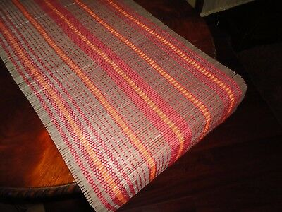 NATURAL WOVEN RED ORANGE TABLE RUNNER NATURAL 13 X 74