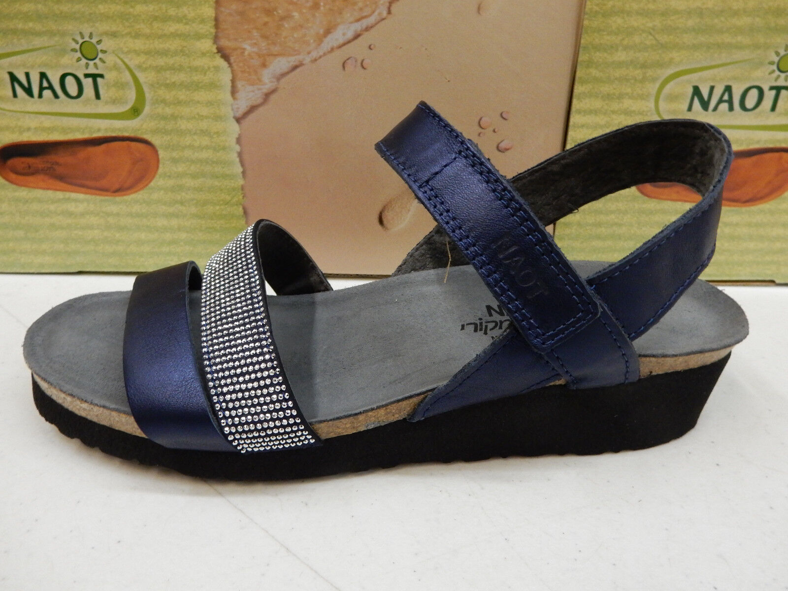 NAOT Donna SANDALS KRISTA POLAR SEA LEATHER NICKEL RIVETS SIZE EU 40