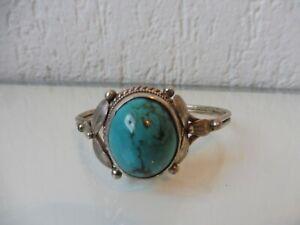 Très Beau, vieux Bracelet, 925 Argent Avec Joli Turquoise