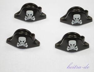 LEGO-Piraten-4-x-Helm-Hut-Bicorne-schwarz-mit-Totenkopf-2528pb03-NEUWARE