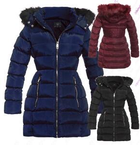 NEW-Size-8-10-12-14-16-Womens-PADDED-PARKA-COAT-Ladies-JACKET-Fur-Puffer-Black