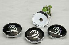 Set of 4 MAZDASPEED  Face 60mm Clip 57mm ALLOY WHEELS CENTER CAPS SET [ Black ]