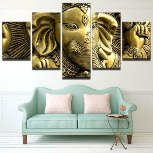 Gold Om Ganesha Canvas Art Print for Wall Decor Painting