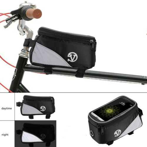 Reflective Bike Front Frame Pannier Phone Bag Case Pouch for iPhone XS XR X 8 7