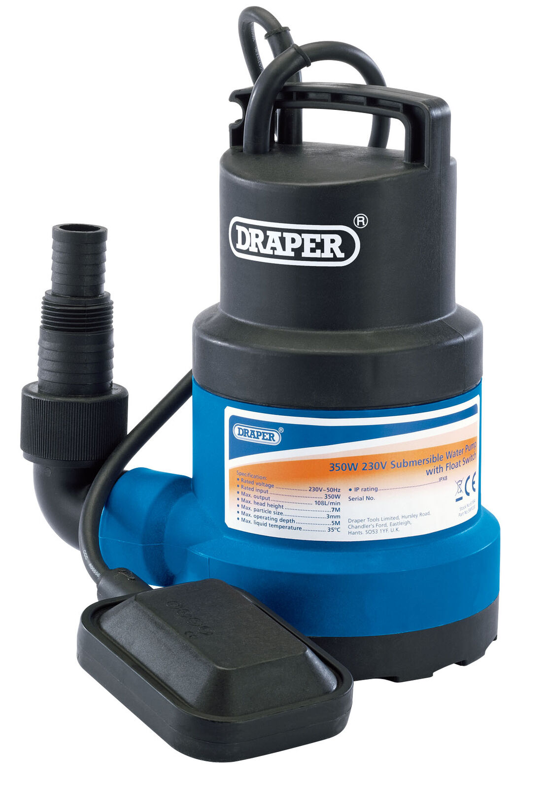 125L/Min Submersible Water Pump With Float Switch (350W) Draper 61668