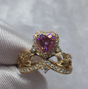 1-50Ct-Heart-Cut-Pink-Sapphire-Crown-Queen-Engagement-Ring-14K-Yellow-Gold-Over