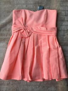 Prom Dress Neon Coral Bow