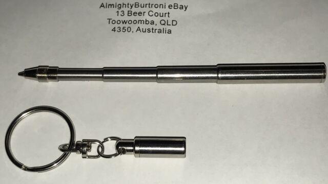 Telescopic Pen Keyring Keychain Key Ring Chain EDC Emergency Ink Biro 65-115mm