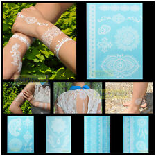 Latest Design 1pc White Henna Ink Lace Temporary Flash Tattoo Inspired Sticker