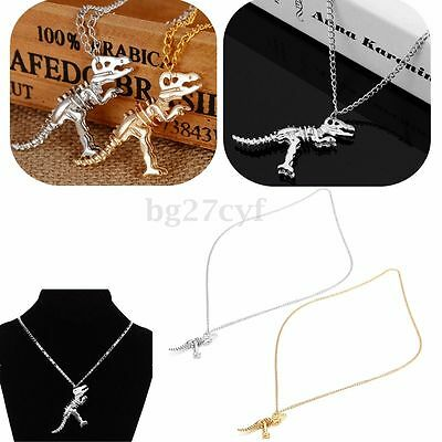 Metal Vintage Fashion Dinosaur Skeleton Pendant Necklace Chain Men Women Gift